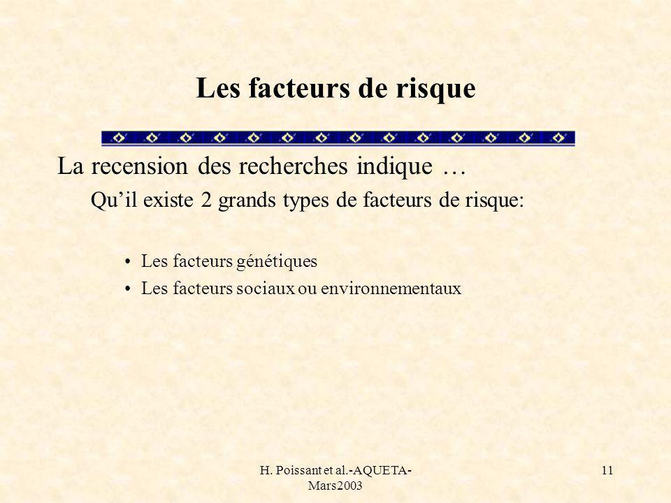 H. Poissant et al.-AQUETA- Mars2003 11 Les facteurs de risque La recension des recherches indique … Quil existe 2 grands types de facteurs de risque: