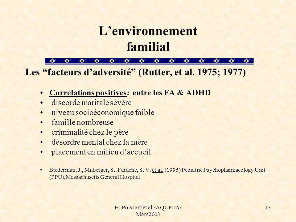 H. Poissant et al.-AQUETA- Mars2003 13 Lenvironnement familial Les facteurs dadversité (Rutter, et al. 1975; 1977) Corrélations positives: entre les F
