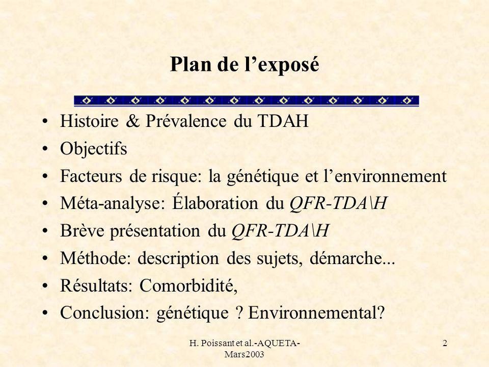 H. Poissant et al.-AQUETA- Mars2003 2 Plan de lexposé Histoire & Prévalence du TDAH Objectifs Facteurs de risque: la génétique et lenvironnement Méta-