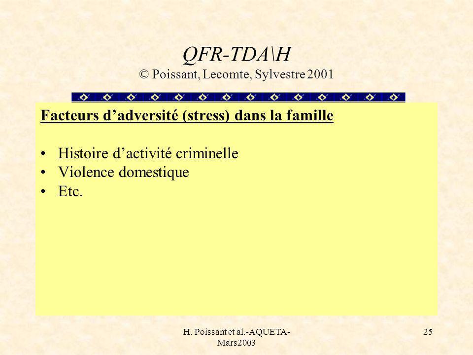 H. Poissant et al.-AQUETA- Mars2003 25 QFR-TDA\H © Poissant, Lecomte, Sylvestre 2001 Facteurs dadversité (stress) dans la famille Histoire dactivité c