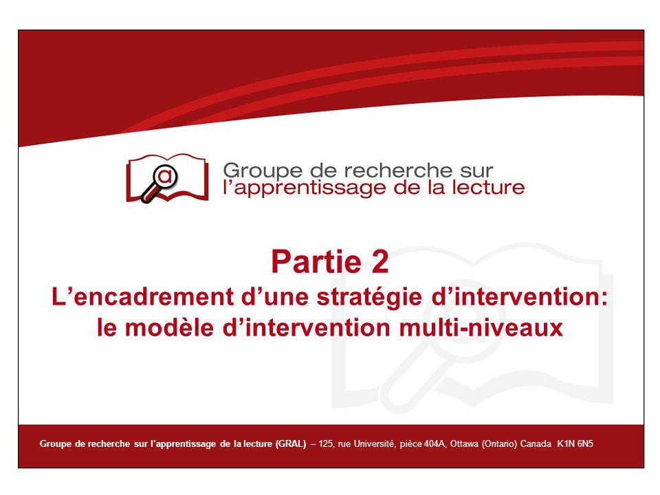 Groupe de recherche sur lapprentissage de la lecture (GRAL) – 125, rue Université, pièce 404A, Ottawa (Ontario) Canada K1N 6N5 Partie 2 Lencadrement d