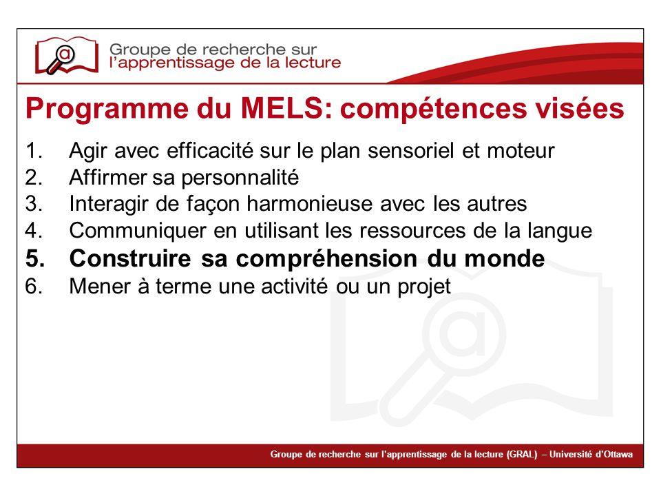 Groupe de recherche sur lapprentissage de la lecture (GRAL) – Université dOttawa Programme du MELS: compétences visées 1.Agir avec efficacité sur le p