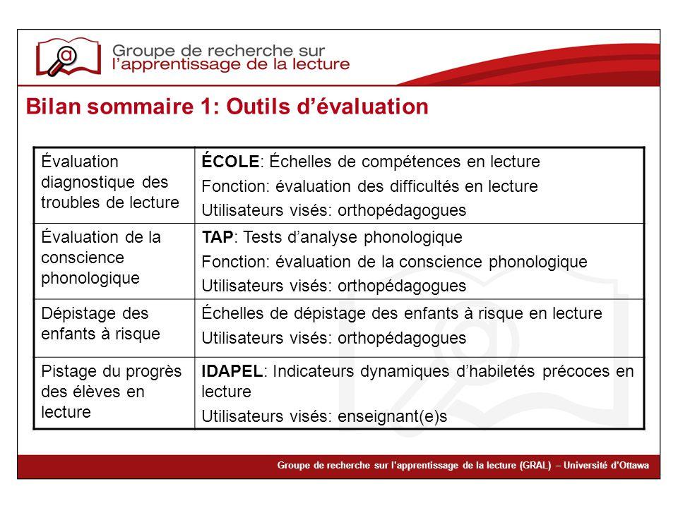 Groupe de recherche sur lapprentissage de la lecture (GRAL) – Université dOttawa Bilan sommaire 1: Outils dévaluation Évaluation diagnostique des trou