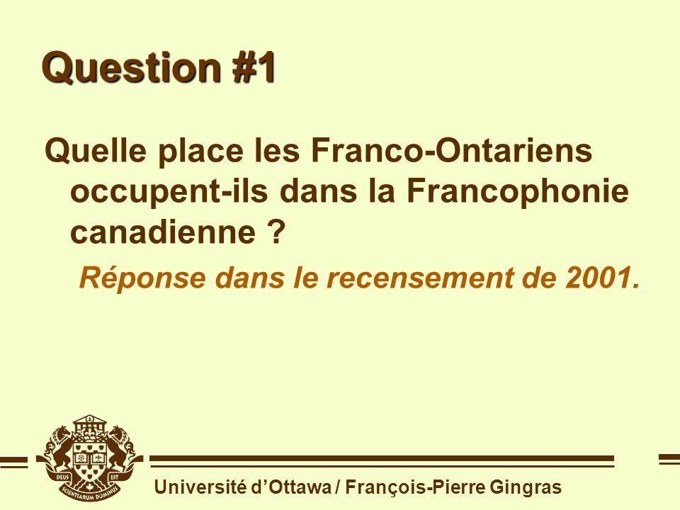 Université dOttawa / François-Pierre Gingras Distribution des francophones dans la population canadienne Source: recensement de 2001 langue maternelle française Québec 5 844 070 Ontario 533 965 N.-B.
