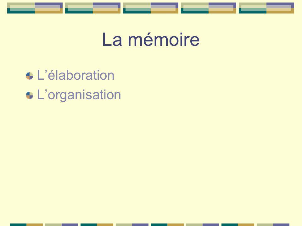 La mémoire Lélaboration Lorganisation