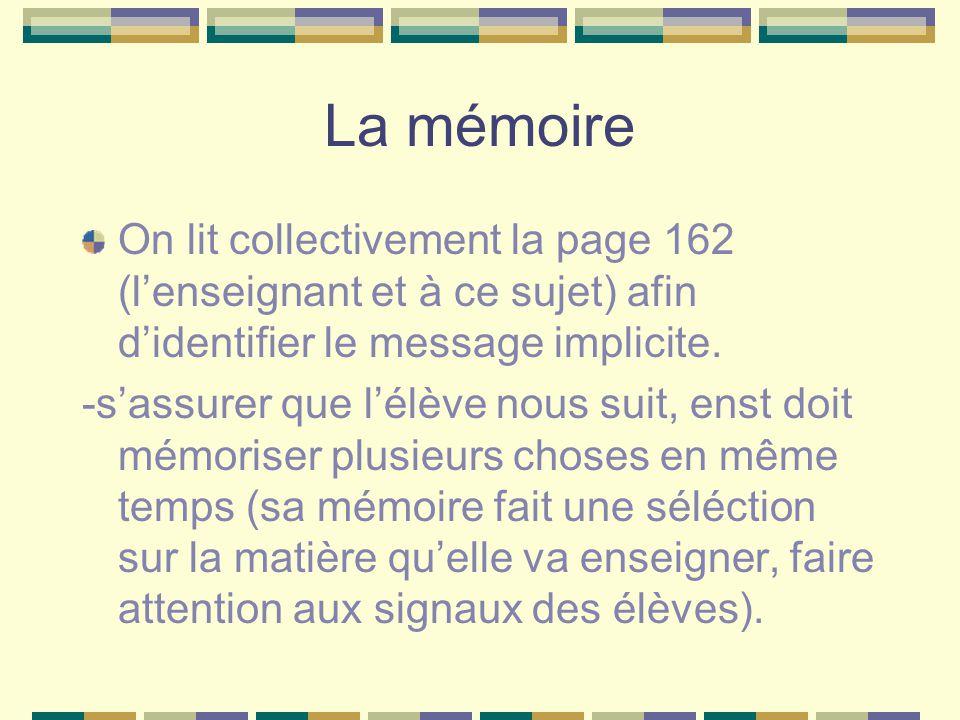 La mémoire On lit collectivement la page 162 (lenseignant et à ce sujet) afin didentifier le message implicite. -sassurer que lélève nous suit, enst d
