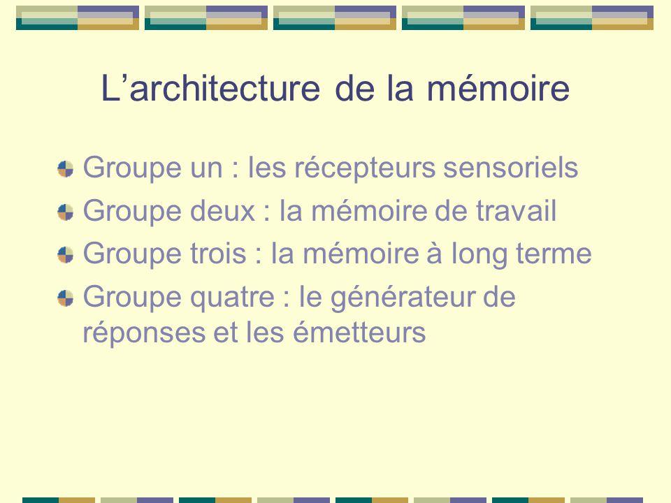 Larchitecture de la mémoire Groupe un : les récepteurs sensoriels Groupe deux : la mémoire de travail Groupe trois : la mémoire à long terme Groupe qu