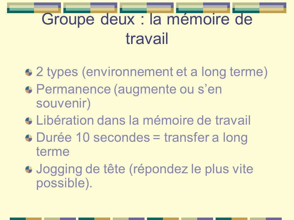 Groupe deux : la mémoire de travail 2 types (environnement et a long terme) Permanence (augmente ou sen souvenir) Libération dans la mémoire de travai