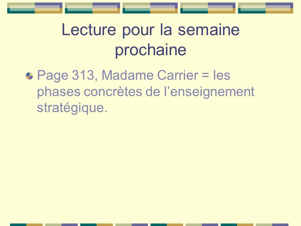 Lecture pour la semaine prochaine Page 313, Madame Carrier = les phases concrètes de lenseignement stratégique.