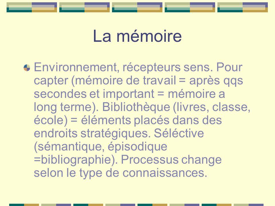 La mémoire Environnement, récepteurs sens. Pour capter (mémoire de travail = après qqs secondes et important = mémoire a long terme). Bibliothèque (li