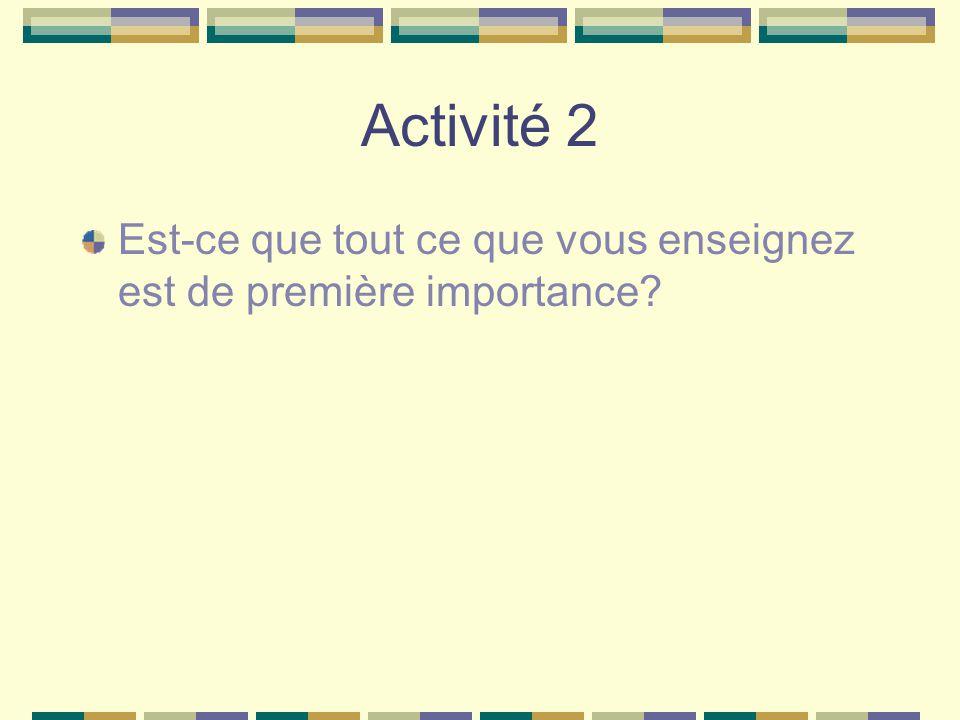 Activité 2 Est-ce que tout ce que vous enseignez est de première importance?