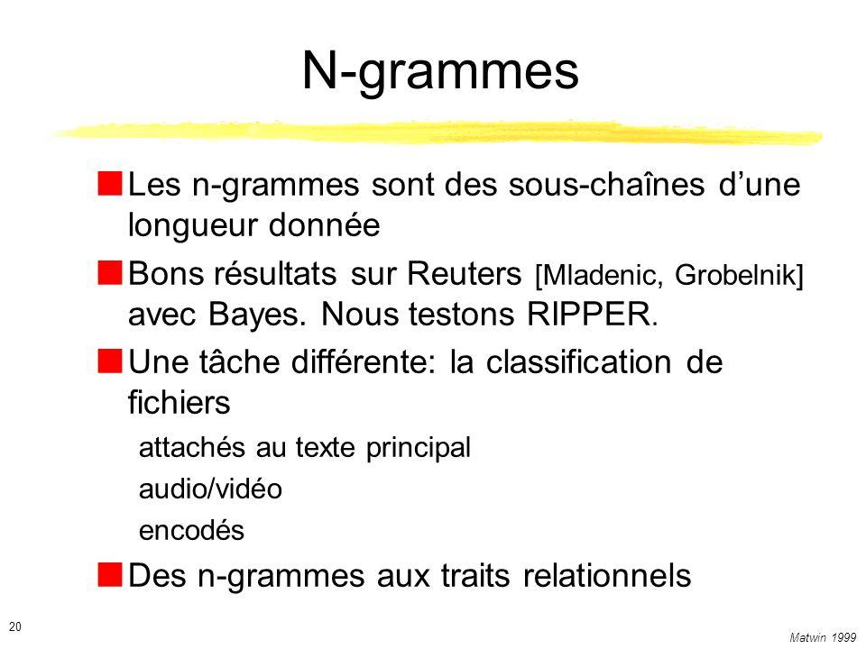Matwin 1999 20 N-grammes Les n-grammes sont des sous-chaînes dune longueur donnée Bons résultats sur Reuters [Mladenic, Grobelnik] avec Bayes. Nous te