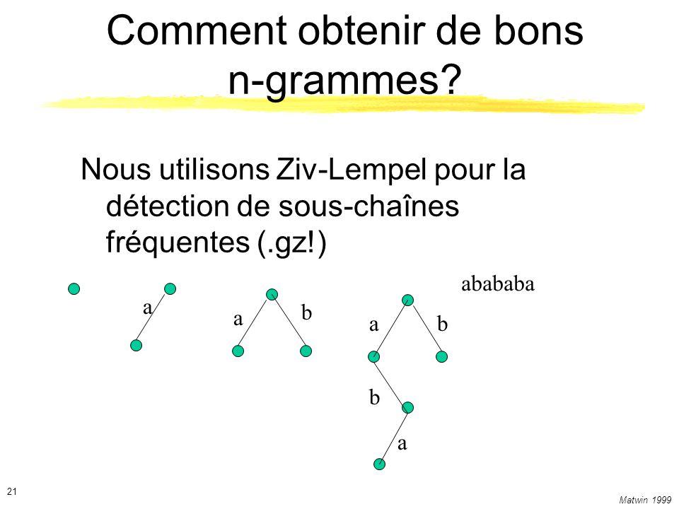 Matwin 1999 21 Comment obtenir de bons n-grammes? Nous utilisons Ziv-Lempel pour la détection de sous-chaînes fréquentes (.gz!) abababa a b a a b b a