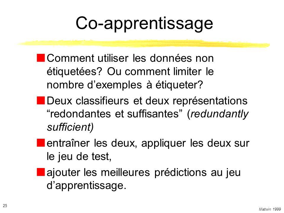 Matwin 1999 25 Co-apprentissage Comment utiliser les données non étiquetées? Ou comment limiter le nombre dexemples à étiqueter? Deux classifieurs et
