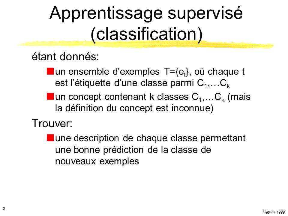 Matwin 1999 3 Apprentissage supervisé (classification) étant donnés: un ensemble dexemples T={e t }, où chaque t est létiquette dune classe parmi C 1,