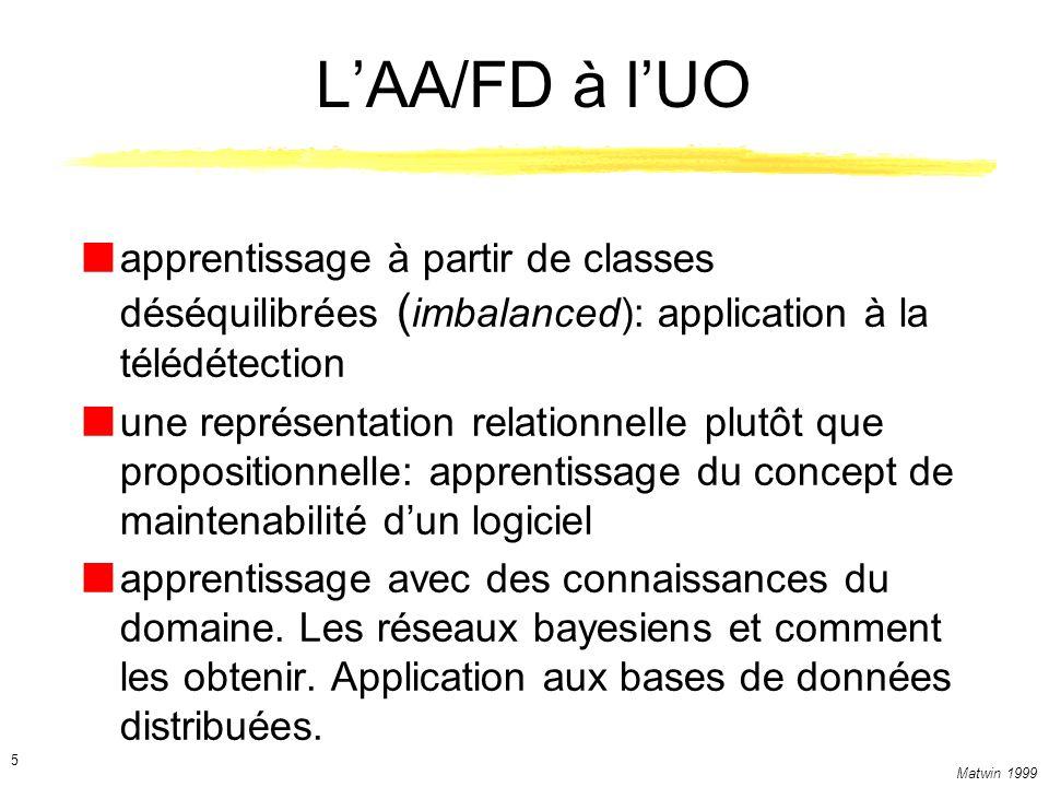 Matwin 1999 5 LAA/FD à lUO apprentissage à partir de classes déséquilibrées ( imbalanced): application à la télédétection une représentation relationn