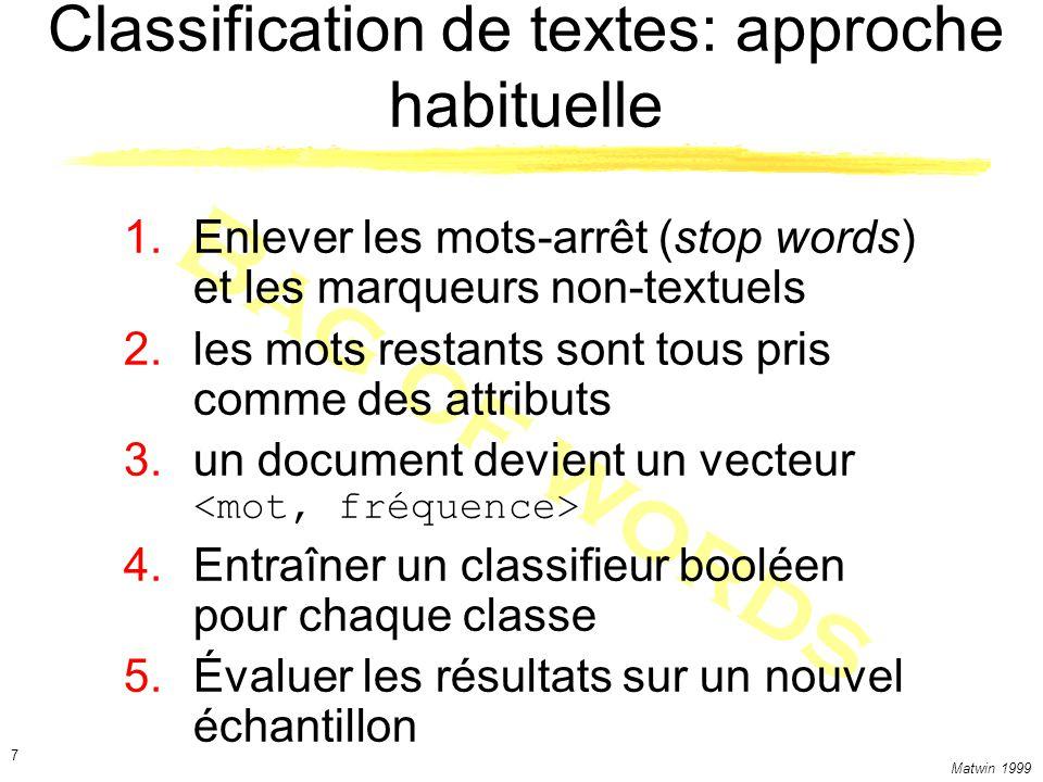 Matwin 1999 8 Outils de classification des textes RIPPER un système dapprentissage ascendant (covering) Fonctionne bien sur de gros ensembles de traits binaires Réseaux bayesiens naïfs Efficaces (pas de recherche) Simples à programmer Indiquent un niveau de croyance