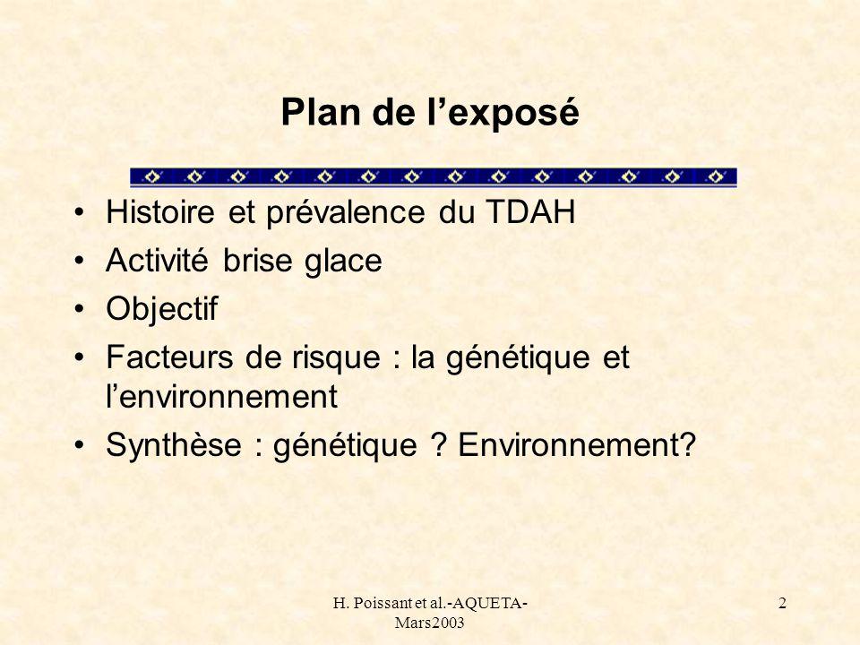 H. Poissant et al.-AQUETA- Mars2003 2 Plan de lexposé Histoire et prévalence du TDAH Activité brise glace Objectif Facteurs de risque : la génétique e