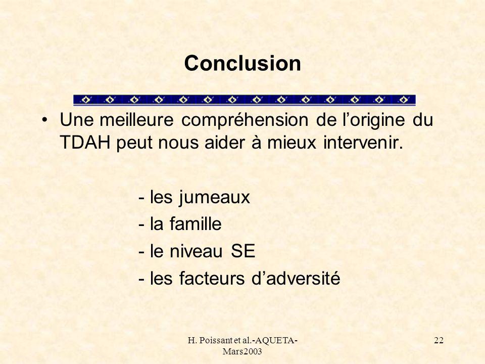 H. Poissant et al.-AQUETA- Mars2003 22 Conclusion Une meilleure compréhension de lorigine du TDAH peut nous aider à mieux intervenir. - les jumeaux -