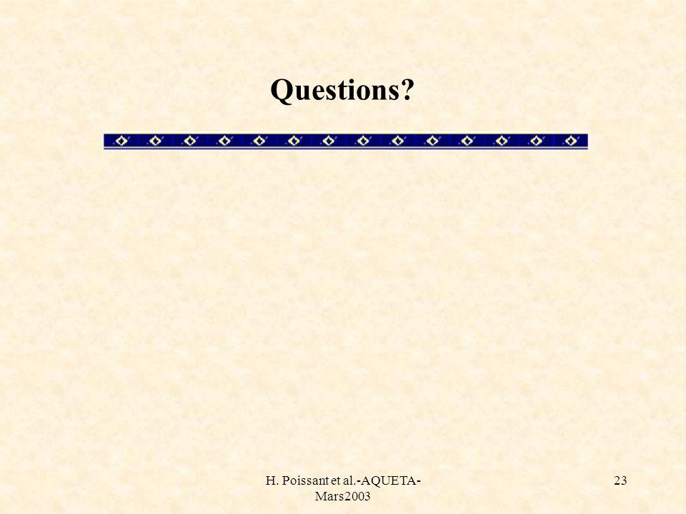 H. Poissant et al.-AQUETA- Mars2003 23 Questions