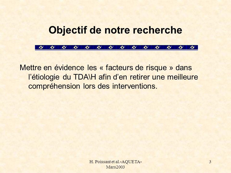 H. Poissant et al.-AQUETA- Mars2003 3 Objectif de notre recherche Mettre en évidence les « facteurs de risque » dans létiologie du TDA\H afin den reti