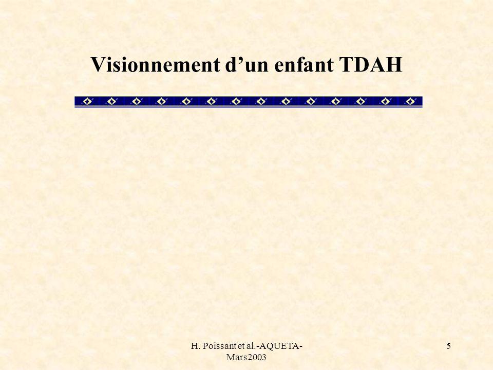 H. Poissant et al.-AQUETA- Mars2003 5 Visionnement dun enfant TDAH