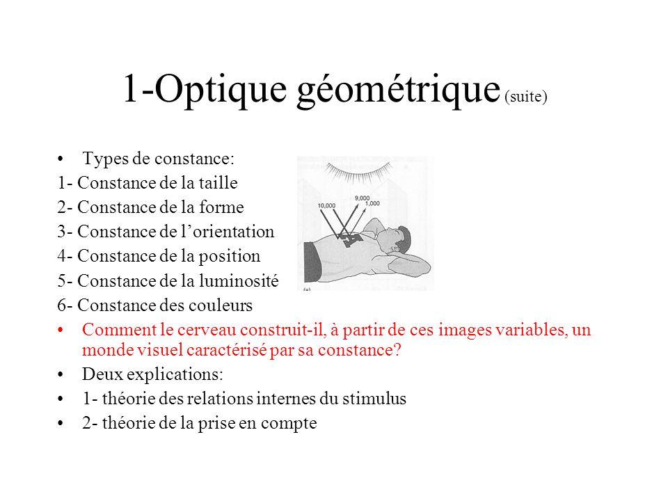 1-Optique géométrique (suite) Types de constance: 1- Constance de la taille 2- Constance de la forme 3- Constance de lorientation 4- Constance de la p
