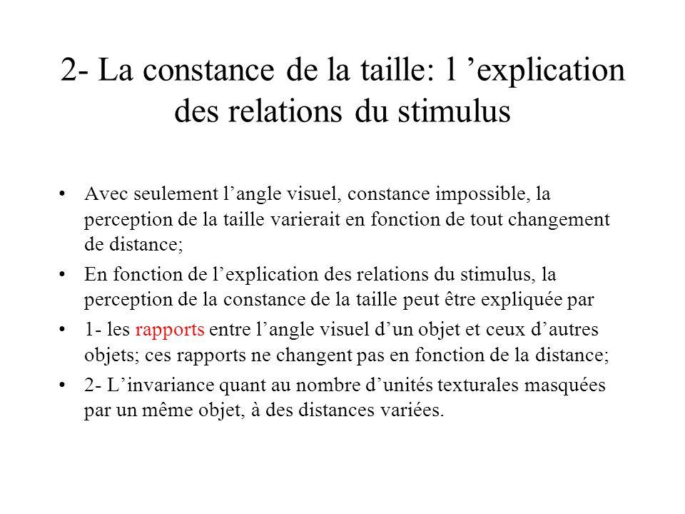 2- La constance de la taille: l explication des relations du stimulus Avec seulement langle visuel, constance impossible, la perception de la taille v