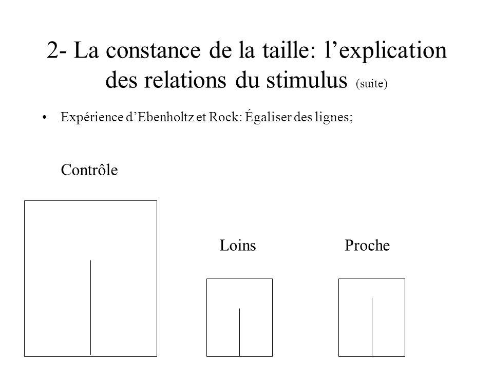 2- La constance de la taille: lexplication des relations du stimulus (suite) Expérience dEbenholtz et Rock: Égaliser des lignes; Loins Contrôle Proche