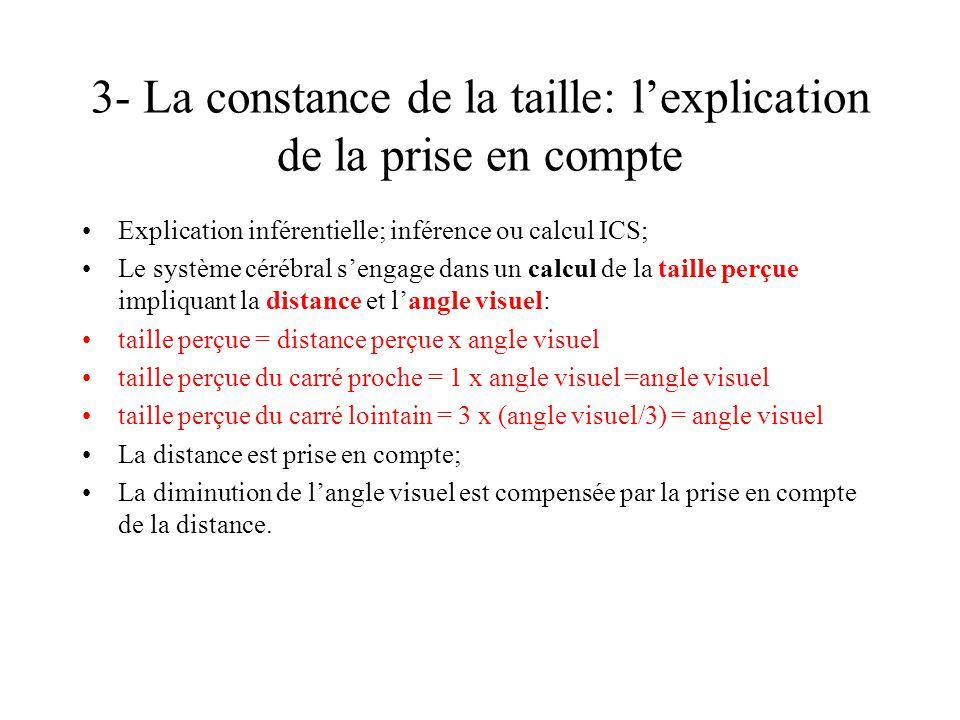 3- La constance de la taille: lexplication de la prise en compte Explication inférentielle; inférence ou calcul ICS; Le système cérébral sengage dans