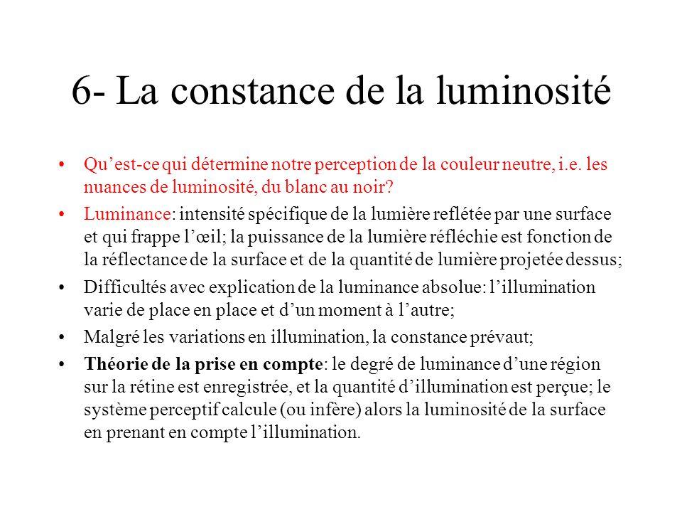 6- La constance de la luminosité Quest-ce qui détermine notre perception de la couleur neutre, i.e. les nuances de luminosité, du blanc au noir? Lumin