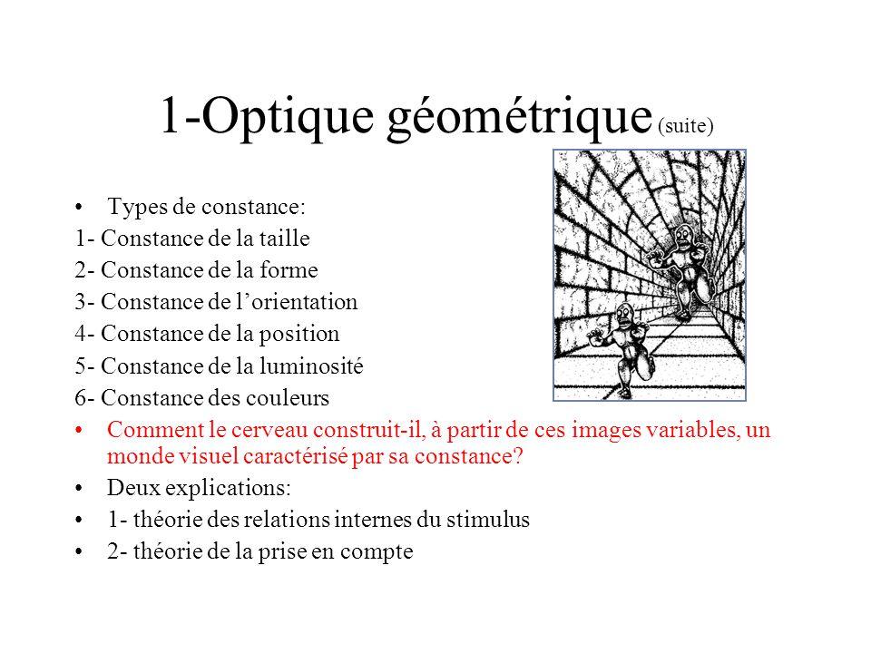 2- La constance de la taille: lexplication des relations du stimulus (suite) Expérience dEbenholtz et Rock: Égaliser des lignes; Effet de contexte: illusion puissante; Résultats: les relations de taille sont importantes, elles modifient notre expérience de la taille des objets; Cependant, la proportionnalité nest pas seul déterminant, les résultats en font foi: ligne de référence=3 pouces avec cadre de 4 pouces, ligne « contrôle » 6,5 pouces avec cadre de 12 pouces; la principale raison pour rejeter lexplication de la constance de la taille en référence aux relation du stimulus est que la constance peut- être assurée dans des cas où les relations du stimulus ne sont pas pertinentes ou absente -> pas de textures ou de gradients; Dans ces cas il subsiste des indices de distance liés à laccomodation et à la convergence; efficacité limitée respectivement à quelques mètres et à quelques dizaines de mètre.