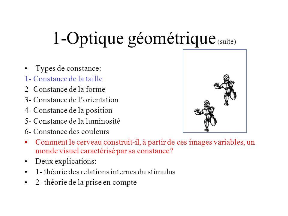 3- La constance de la taille: lexplication de la prise en compte Explication inférentielle; inférence ou calcul ICS; Le système cérébral sengage dans un calcul de la taille perçue impliquant la distance et langle visuel: taille perçue = distance perçue x angle visuel taille perçue du carré proche = 1 x angle visuel =angle visuel taille perçue du carré lointain = 3 x (angle visuel/3) = angle visuel La distance est prise en compte; La diminution de langle visuel est compensée par la prise en compte de la distance.