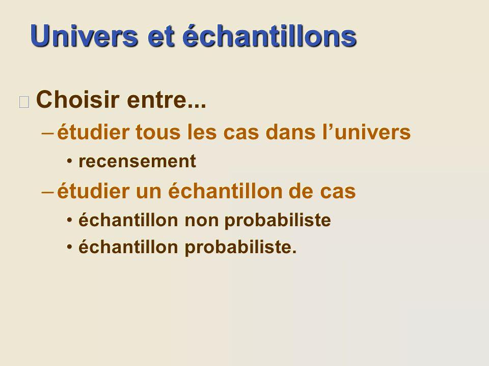 Univers et échantillons l Définir lunivers –population de personnes –corpus de documents –univers de nimporte quoi dautre. l Définir lunivers –populat