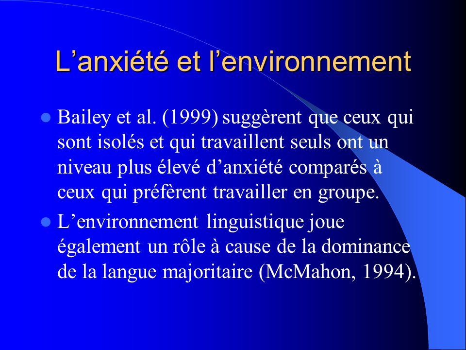 Problématique: Lanxiété et lenvironnement Lapprentissage dune deuxième langue est long. Landry et Allard (1990) soutiennent quil existe trois milieux