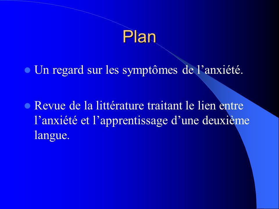 Plan Un regard sur les symptômes de lanxiété.