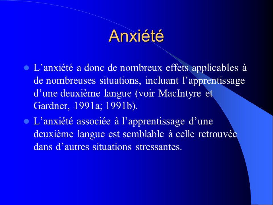 Anxiété Lanxiété a donc de nombreux effets applicables à de nombreuses situations, incluant lapprentissage dune deuxième langue (voir MacIntyre et Gardner, 1991a; 1991b).