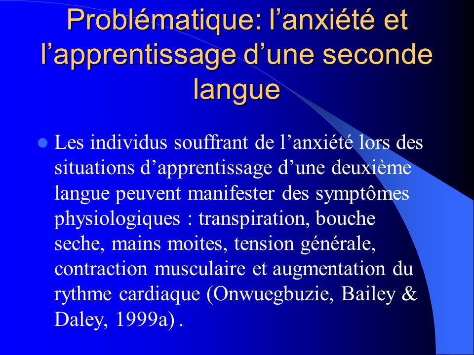 Anxiété Lanxiété a donc de nombreux effets applicables à de nombreuses situations, incluant lapprentissage dune deuxième langue (voir MacIntyre et Gar