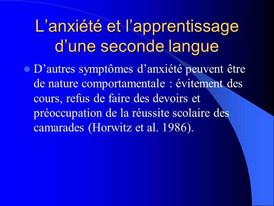 Lanxiété et lapprentissage dune seconde langue Dautres symptômes danxiété peuvent être de nature comportamentale : évitement des cours, refus de faire des devoirs et préoccupation de la réussite scolaire des camarades (Horwitz et al.