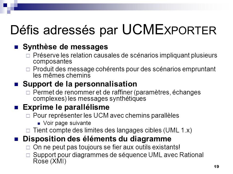 19 Défis adressés par UCME XPORTER Synthèse de messages Préserve les relation causales de scénarios impliquant plusieurs composantes Produit des messa