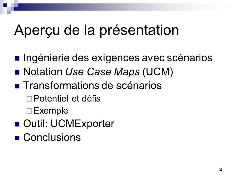 2 Aperçu de la présentation Ingénierie des exigences avec scénarios Notation Use Case Maps (UCM) Transformations de scénarios Potentiel et défis Exemp