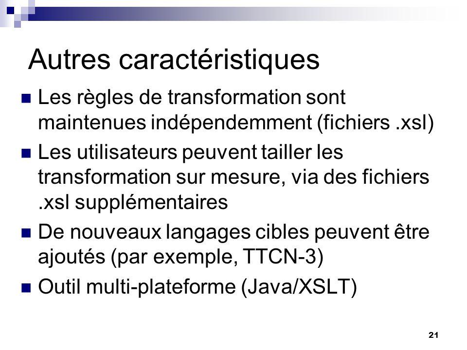 21 Autres caractéristiques Les règles de transformation sont maintenues indépendemment (fichiers.xsl) Les utilisateurs peuvent tailler les transformat