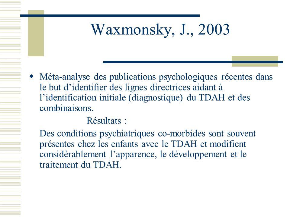 Waxmonsky, J., 2003 Méta-analyse des publications psychologiques récentes dans le but didentifier des lignes directrices aidant à lidentification initiale (diagnostique) du TDAH et des combinaisons.