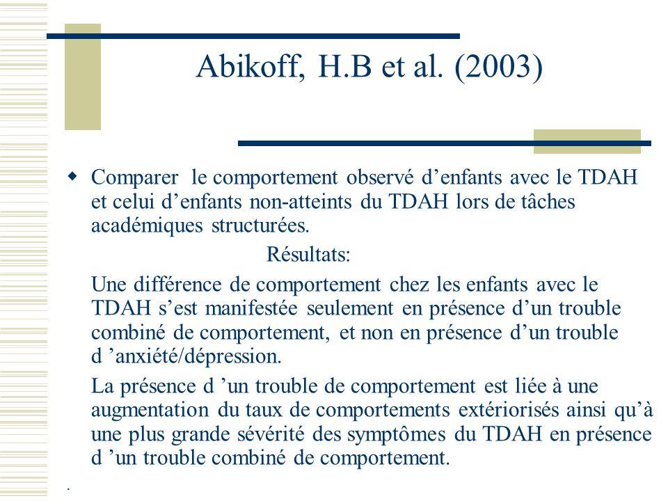Connor, D. F. et al.(2003) Étude de la relation entre la psychopathologie intériorisée et extériorisée auprès dun échantillon clinique denfants avec l