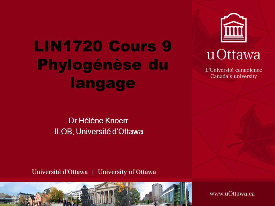 LIN1720 Cours 9 Phylogénèse du langage Dr Hélène Knoerr ILOB, Université dOttawa