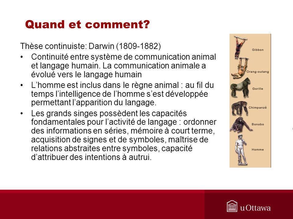 Thèse continuiste: Darwin (1809-1882) Continuité entre système de communication animal et langage humain.