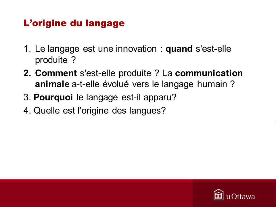 Lorigine du langage 1.Le langage est une innovation : quand s est-elle produite .