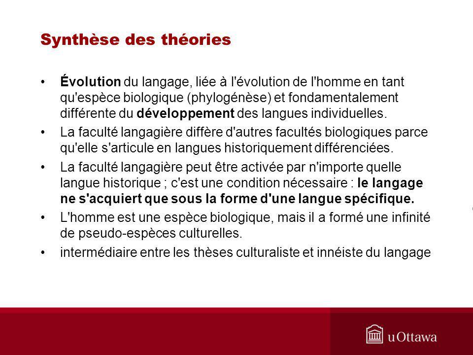 Synthèse des théories Évolution du langage, liée à l évolution de l homme en tant qu espèce biologique (phylogénèse) et fondamentalement différente du développement des langues individuelles.