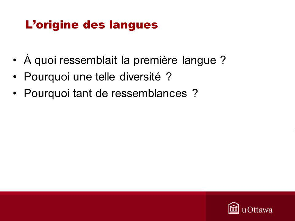 Lorigine des langues À quoi ressemblait la première langue .