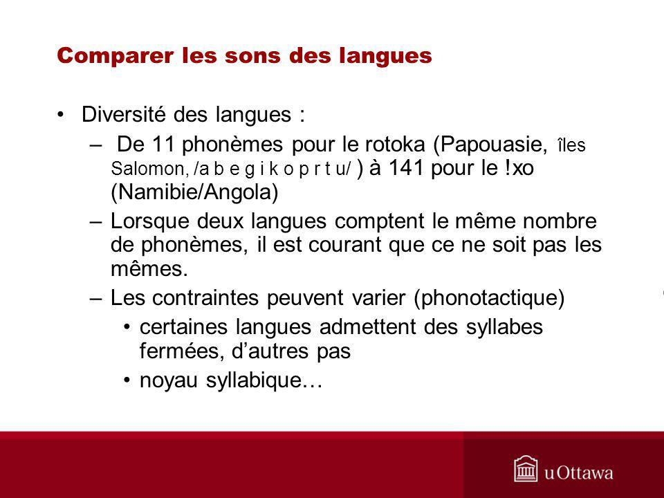 Comparer les sons des langues Diversité des langues : – De 11 phonèmes pour le rotoka (Papouasie, îles Salomon, /a b e g i k o p r t u/ ) à 141 pour le !xo (Namibie/Angola) –Lorsque deux langues comptent le même nombre de phonèmes, il est courant que ce ne soit pas les mêmes.